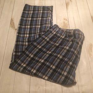 Hanes Blue Plaid Men's Pajama Bottoms 2 XL
